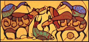 Animal Unity_50x108_1978_by Norval Morrisseau
